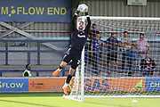 AFC Wimbledon goalkeeper Joe McDonnell (24) warming up during the EFL Sky Bet League 1 match between AFC Wimbledon and Scunthorpe United at the Cherry Red Records Stadium, Kingston, England on 15 September 2018.