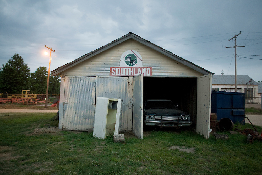 The original blues-mobile from the motion picture The Blues Brothers parked in a garage at Hopson Plantation, home to the Shack-Up Inn outside of Clarksdale, Miss., 2007.