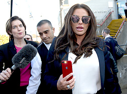Katie Price (right) outside Bexley Magistrates' Court following her drink driving trial where she was banned from driving for three months, adding to the ban from earlier this year for driving while disqualified.