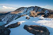 Evening light graces the upper slopes Mount Evans 14,264ft, Mount Evans Widerness Area, Colorado.