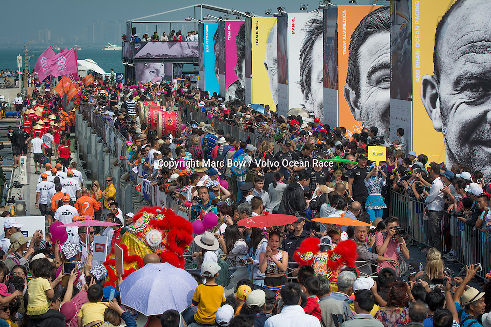 February 08, 2015. Start of Leg 4 from Sanya to Auckland. Sailors Parade in a crowded Volvo Ocean Race Village in Sanya.