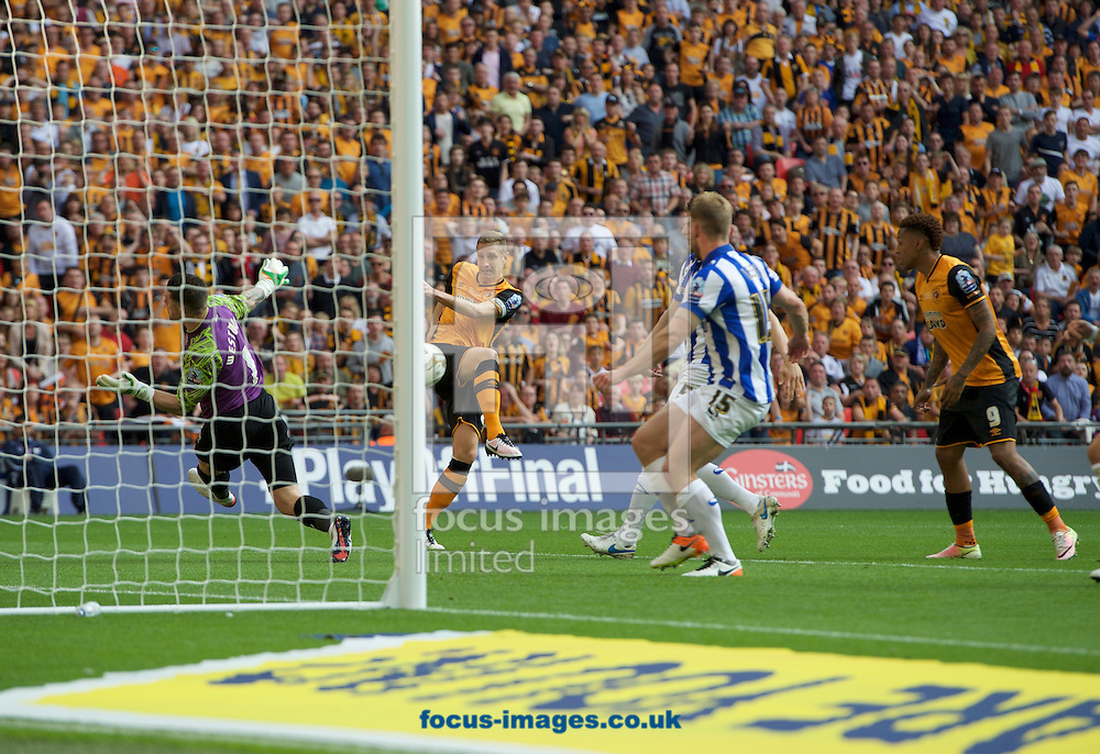 Michael Dawson of Hull City has his shot saved from point blank by Goalkeeper Keiren Westwood of Sheffield Wednesday during the Sky Bet Championship Play-off Final at Wembley Stadium, London<br /> Picture by Alan Stanford/Focus Images Ltd +44 7915 056117<br /> 28/05/2016