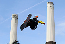 © Licensed to London News Pictures. 28/10/2011, London, UK.  Britain's  Matt McWhirter jumps during the Battle of Britain snowboard competition at the Freeze Snowboard and Ski Festival at Battersea Power Station in London, Friday, Oct. 28, 2011. Photo credit : Sang Tan/LNP