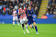 Stoke City defender Bruno Martins Indi (15) with Leicester City forward Jamie Vardy (9) closing in during the Premier League match between Leicester City and Stoke City at the King Power Stadium, Leicester, England on 1 April 2017. Photo by Jon Hobley.