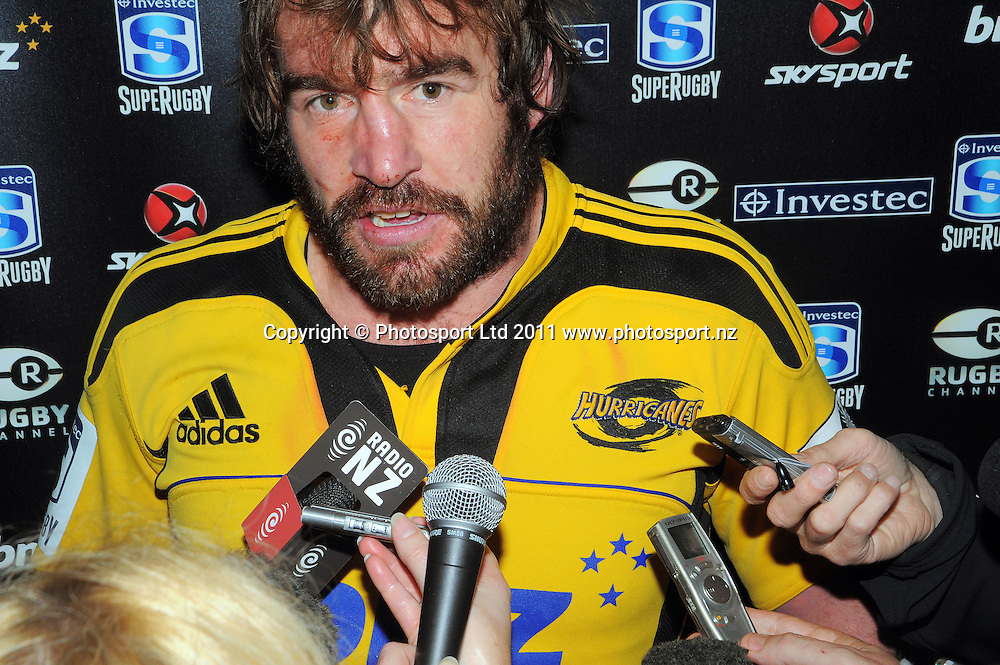 Andrew Hore talks to the media after his last match for the Hurricanes. Super 15 rugby match - Crusaders v Hurricanes at Westpac Stadium, Wellington, New Zealand on Saturday, 18 June 2011. Photo: Dave Lintott / photosport.co.nz