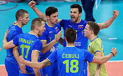 Klemen Cebulj #18, Mitja Gasparini #6, Alen Pajenk #2, Alen Sket #5 celebrate during volleyball match between National teams of Poland and Slovenia in Quarterfinals of 2015 CEV Volleyball European Championship - Men, on October 14, 2015 in Arena Armeec, Sofia, Bulgaria. Photo by Ronald Hoogendoorn / Sportida