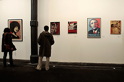 Shepard Fairey, from left : Obey Angela Davis 2005, Obey playboy metal 2001, Osaka Highway 2000, Obey Obama progress 2003, Obey Alva 2008