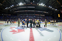 REGINA, SK - MAY 18: Official puck drop with Dennis Sobchuk and the army at the Brandt Centre on May 18, 2018 in Regina, Canada. (Photo by Marissa Baecker/Shoot the Breeze)