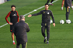 Manchester City coach Mikel Arteta gestures to Brian Kidd - Mandatory by-line: Matt McNulty/JMP - 31/10/2016 - FOOTBALL - City Football Academy - Manchester, England - Manchester City v Barcelona - UEFA Champions League - Group C