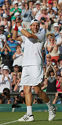LONDON, ENGLAND - Saturday, July 3rd, 2010: Jurgen Melzer (AUT) celebrates after their Gentlemen's Doubles Final victory on day twelve of the Wimbledon Lawn Tennis Championships at the All England Lawn Tennis and Croquet Club. (Pic by David Rawcliffe/Propaganda)