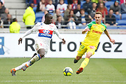 Mendy Ferland of Lyon and Rongier Valentin of Nantes during the French Championship Ligue 1 football match between Olympique Lyonnais and FC Nantes on April 28, 2018 at Groupama Stadium in Décines-Charpieu near Lyon, France - Photo Romain Biard / Isports / ProSportsImages / DPPI