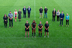 (Left to Right ) Representatives from Jurrasic Kitchens, Cameron Jones Financial Management, SW Comms, Lady's Mile, G X Accountants, The Maynard School attend a Sponsors evening to announce their shirt sponsorship for Exeter Chiefs Women with Amy Garnett, Garnet MacKinder, Patricia Garcia, Susie Appleby  - Mandatory by-line: Ryan Hiscott/JMP - 17/09/2020 - RUGBY - Sandy Park - Exeter, England - Exeter Chiefs Women - Shirt Sponsors Evening