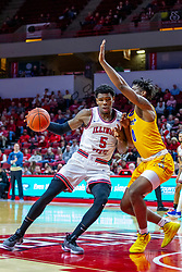NORMAL, IL - December 07: Keith Fisher III drives into the paint against Tyzhaun Claude during a college basketball game between the ISU Redbirds and the Morehead State Eagles on December 07 2019 at Redbird Arena in Normal, IL. (Photo by Alan Look)