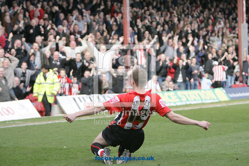 London - Saturday, March 14th, 2009: Jordan Rhodes (R) of Brentford celebrates his first goal during the Coca Cola League Two match at Griffin Park, London. (Pic by Mark Chapman/Focus Images)