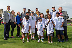 May 29, 2019 - Dublin, OH, U.S. - DUBLIN, OH - MAY 29: Jack Nicklaus (far right), former NFL quarterback Peyton Manning (fourth from left in back row) and Tiger Woods (fifth from left in back row) pose for a photo with Nationwide Patient Champions during the Pro-Am of the Memorial Tournament presented by Nationwide at Muirfield Village Golf Club on May 30, 2018 in Dublin, Ohio. (Photo by Adam Lacy/Icon Sportswire) (Credit Image: © Adam Lacy/Icon SMI via ZUMA Press)