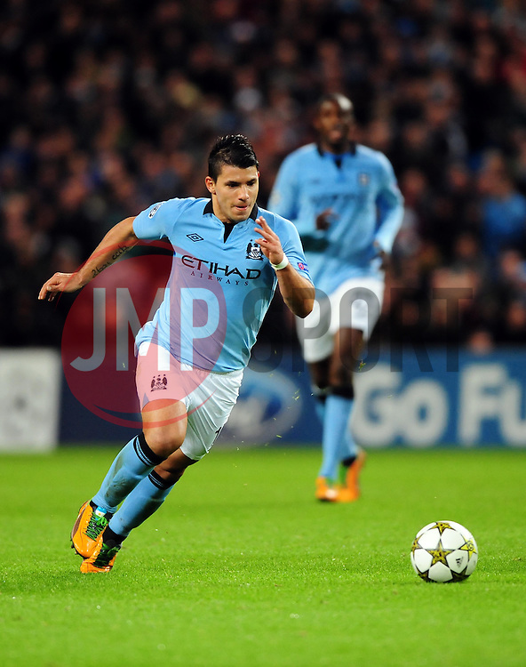 Manchester City's Sergio Aguero - Photo mandatory by-line: Joe Meredith/JMP  - Tel: Mobile:07966 386802 03/10/2012 - Manchester City v Borussia Dortmund - SPORT - FOOTBALL - Champions League -  Manchester   - Etihad Stadium -
