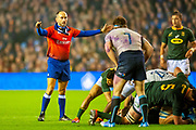 French referee Romain Poite watches a ruck during the Autumn Test match between Scotland and South Africa at the BT Murrayfield Stadium, Edinburgh, Scotland on 17 November 2018.