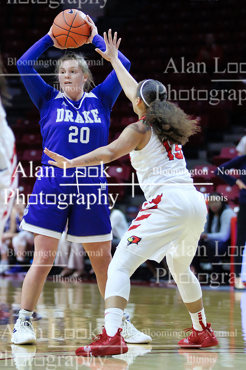 NORMAL, IL - January 06: Maddy Dean guarded by Katrina Beck during a college women's basketball game between the ISU Redbirds and the Drake Bulldogs on January 06 2019 at Redbird Arena in Normal, IL. (Photo by Alan Look)