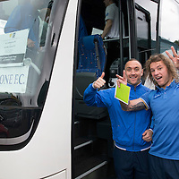 St Johnstone FC depart McDiarmid Park in Perth for the William Hill Scottish Cup Final....16.05.15<br /> Lee Croft and Stevie May all smiles as they board the coach heading for their hotel in Glasgow.<br /> Picture by Graeme Hart.<br /> Copyright Perthshire Picture Agency<br /> Tel: 01738 623350  Mobile: 07990 594431
