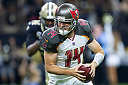 NEW ORLEANS, LA - SEPTEMBER 9:  Ryan Fitzpatrick #14 of the Tampa Bay Buccaneers runs the ball against the New Orleans Saints at Mercedes-Benz Superdome on September 9, 2018 in New Orleans, Louisiana.  The Buccaneers defeated the Saints 48-40.  (Photo by Wesley Hitt/Getty Images) *** Local Caption *** Ryan Fitzpatrick