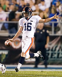 "Virginia punter Ryan Weigand (16)..The Virginia Cavaliers football team defeated Middle Tennessee State Blue Raiders 23-21 at Johnny ""Red"" Floyd Stadium  in Murfreesboro, TN on October 6, 2007."