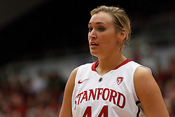 February 26, 2011; Stanford, CA, USA;  Stanford Cardinal forward Joslyn Tinkle (44) before a free throw against the Oregon Ducks during the first half at Maples Pavilion.  Stanford defeated Oregon 99-60.