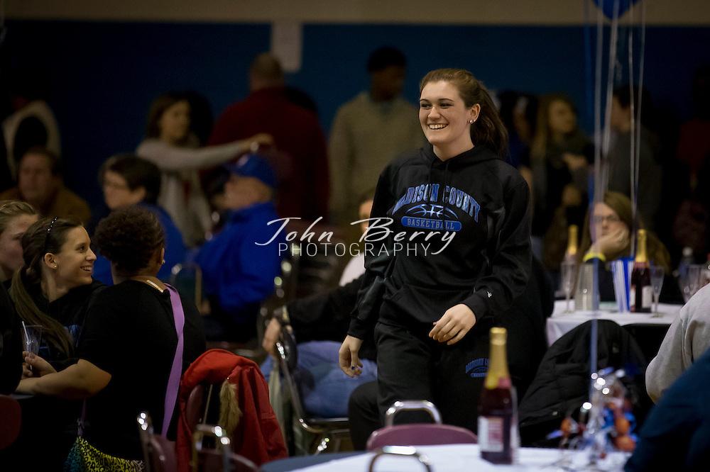 February 01, 2014.  MCHS Varsity Girls Basketball vs Manassas Park.  Madison wins 42-23.  Madison Coach Katherine Johnson honored for her 36 years of coaching at MCHS.