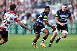Kyle Eastmond of Bath Rugby in possession - Mandatory byline: Patrick Khachfe/JMP - 07966 386802 - 26/09/2015 - RUGBY UNION - The Recreation Ground - Bath, England - Bath Rugby v Gloucester Rugby - West Country Challenge Cup.