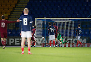10th November 2017, McDiarmid Park, Perth, Scotland, UEFA Under-21 European Championships Qualifier, Scotland versus Latvia; Latvia's Roberts Uldrikis heads home Latvia's opening goal for 1-0