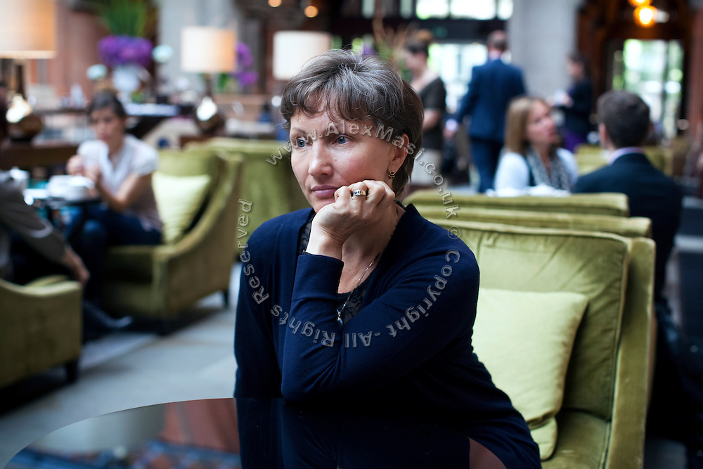 Marina Litvinenko, 51, the widow of poisoned ex-KGB Russian spy Alexander Litvinenko, is portrayed in the lobby of the Renaissance Hotel in King's Cross Saint Pancreas, London, UK. Alexander Litvinenko was assassinated with radioactive Polonium in London in November 2006.