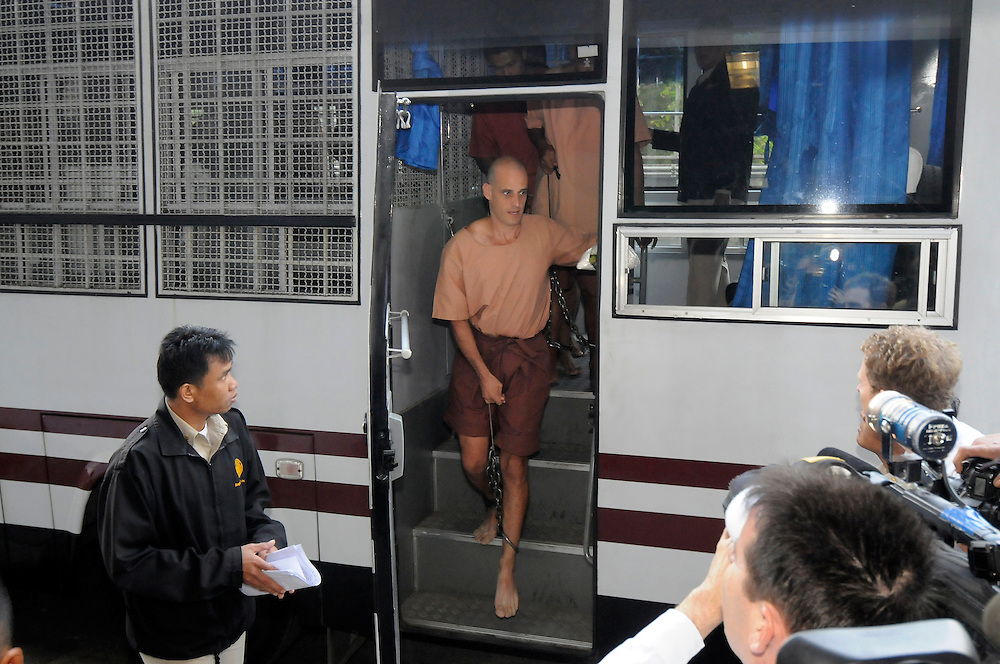 Arriving at court in a prison bus, Australian writer, Harry Nicolaides, age 41, was sentenced to 3 years in prison after pleading guilty to lese-majeste for insulting the country?s Monarchy, Bangkok, Thailand, on Monday, January 19, 2009.  His 2005 book of fiction ?Verisimilitude? had a short passage about a fictional prince.  **Assignment Images for Sunday Times Magazine #2622**