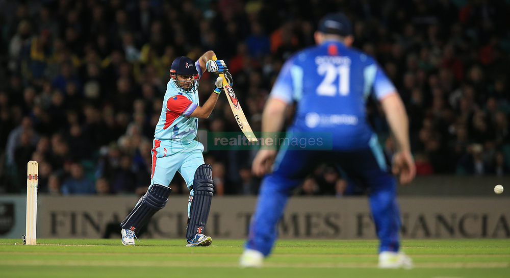 Help for Heroes XI's Virender Sehwag bats against the Rest of the World XI at the Kia Oval, London.