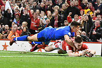 Rugby Union - 2020 Six Nations Championship - Wales vs. Italy<br /> <br /> Josh Adams of Wales scores a try , at the Principality (Millennium) Stadium.<br /> <br /> COLORSPORT/WINSTON BYNORTH