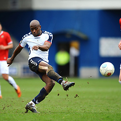 TELFORD COPYRIGHT MIKE SHERIDAN 9/3/2019 - Theo Streete of AFC Telford shoots during the National League North fixture between AFC Telford United and FC United of Manchester (FCUM) at the New Bucks Head Stadium
