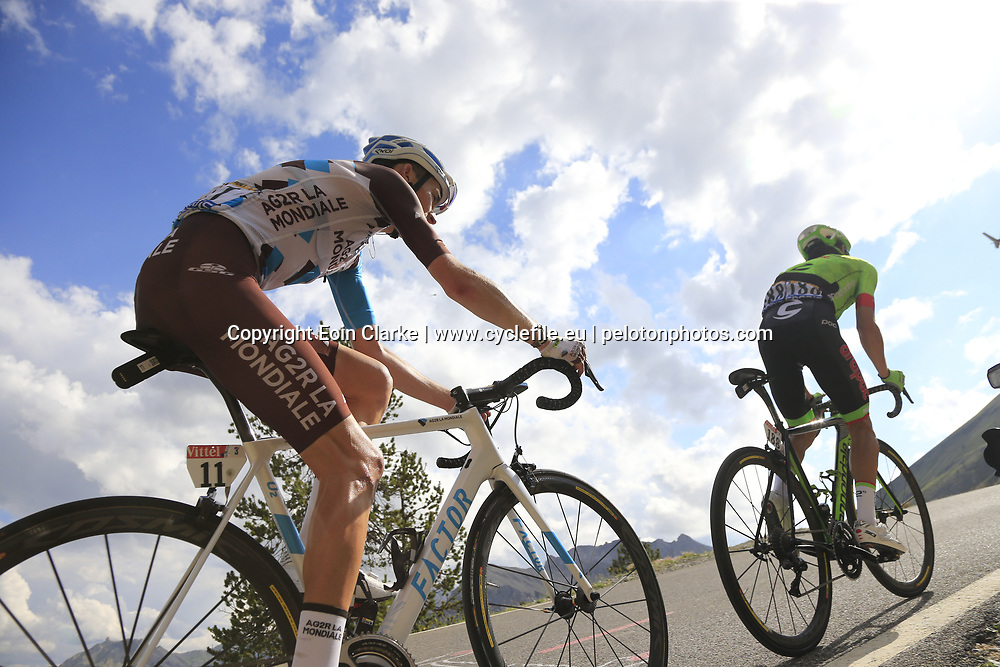 Romain Bardet (FRA) AG2R La Mondiale and Rigoberto Uran (COL) Cannondale Drapac climb through the Caisse Deserte on Col d'Izoard during Stage 18 of the 104th edition of the Tour de France 2017, running 179.5km from Briancon to the summit of Col d'Izoard, France. 20th July 2017.<br /> Picture: Eoin Clarke | Cyclefile<br /> <br /> All photos usage must carry mandatory copyright credit (&copy; Cyclefile | Eoin Clarke)