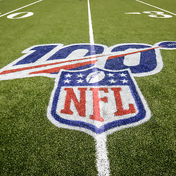 Aug 29, 2019; New Orleans, LA, USA; A detail of the NFL 100th season logo during the second half of a preseason game between the New Orleans Saints and the Miami Dolphins at the Mercedes-Benz Superdome. Mandatory Credit: Derick E. Hingle-USA TODAY Sports
