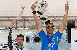 Medal ceremony of Masters 35-39 category: second placed Bostjan Felc (SLO), winner Andrej Sumbergar (SLO)  at MTB Downhill European Championships, on June 13, 2009, at Kranjska Gora, Slovenia. (Photo by Vid Ponikvar / Sportida)