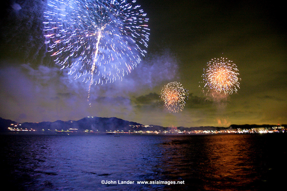 "Japanese fireworks have long been known as the world's most elaborate.  Hanabi,  literally ""flower fire"" it is a highlight of mid-summer in Japan, as each year the displays become more elaborate and colourful.  7/30/2008"