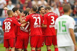 24.08.2013, BayArena, Leverkusen, GER, 1. FBL, Bayer 04 Leverkusen vs Borussia Moenchengladbach, 3. Runde, im Bild Leverkusener freuen sich nach dem 4:2 von Gonzalo Castro #27 (Bayer 04 Leverkusen) // during the German Bundesliga 3rd round match between Bayer 04 Leverkusen and Borussia Moenchengladbach at the BayArena, Leverkusen, Germany on 2013/08/24. EXPA Pictures &copy; 2013, PhotoCredit: EXPA/ Eibner/ Grimme<br /> <br /> ***** ATTENTION - OUT OF GER *****