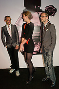 ROLF SNOEREN, MARGOT STILLEY, VIKTOR HORSTING.  The private view of exhibition 'The House of Viktor & Rolf', at The Barbican Gallery.  London.  June 17 2008. *** Local Caption *** -DO NOT ARCHIVE-© Copyright Photograph by Dafydd Jones. 248 Clapham Rd. London SW9 0PZ. Tel 0207 820 0771. www.dafjones.com.