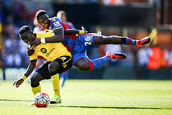 Idrissa Gueye of Aston Villa blocks Bakary Sako of Crystal Palace - Mandatory byline: Jason Brown/JMP - 07966386802 - 22/08/2015 - FOOTBALL - London - Selhurst Park - Crystal Palace v Aston Villa - Barclays Premier League