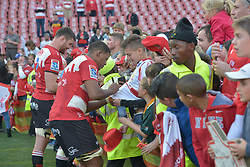 28-07-18 Emirates Airline Park, Johannesburg. Super Rugby semi-final Emirates Lions vs NSW Waratahs. Lourens Erasmus and lock Marvin Orie sign autographs after the game<br />  Picture: Karen Sandison/African News Agency (ANA)