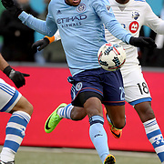 NEW YORK, NEW YORK - March 18: Rodney Wallace #23 of New York City FC challenged by Chris Duvall #18 of Montreal Impact during the New York City FC Vs Montreal Impact regular season MLS game at Yankee Stadium on March 18, 2017 in New York City. (Photo by Tim Clayton/Corbis via Getty Images)