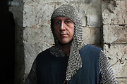 Scene of a knight from the Middle Ages wearing chainmail. Image taken from the filming of 'Paris la ville a remonter le temps' written by Carlo de Boutiny and Alain Zenou, directed by Xavier Lefebvre, a Gedeon Programmes production. Picture by Manuel Cohen
