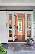 Stamford home, entry. Interior design by Jeffrey Kilmer Design.