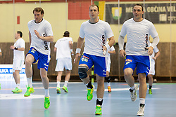David Miklavcic #4, Uros Bundalo #18 and Peter Pucelj #6 of Slovenia during handball match between National teams of Slovenia and Hungary in play off of 2015 Men's World Championship Qualifications on June 15, 2014 in Rdeca dvorana, Velenje, Slovenia. Photo by Urban Urbanc / Sportida