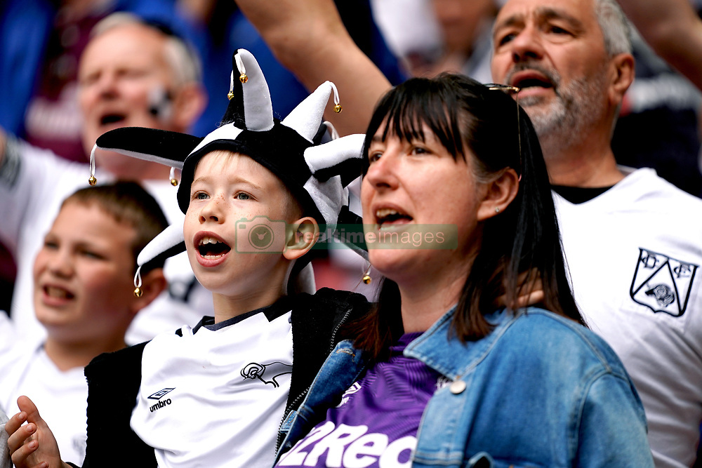 Derby County fans in the stands prior to the Sky Bet Championship Play-off final at Wembley Stadium, London.