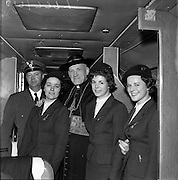 26/04/1959<br /> 04/26/1959<br /> 26 April 1959<br /> Cardinal Cushing leaves for Boston from Dublin Airport. His Eminance, Cardinal Cushing, Archbishop of Boston with Aer Lingus hostesses Pauline Ryan; Thelma Kelly and Moyna Horan on bord the Aer Linte Constellation prior to delarture to Boston carrying the 64 handicapped children who had been on pilgrimage to Lourdes.