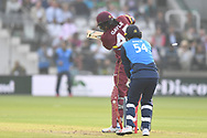 Chris Gayle of West Indies is bowled by Shoaib Malik (Pakistan) of ICC World XI during the International Twenty/20 match at Lord's, London<br /> Picture by Simon Dael/Focus Images Ltd 07866 555979<br /> 31/05/2018
