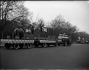17/03/1960<br /> 03/17/1960<br /> 17 March 1960<br /> NAIDA Industrial St. Patrick's Day Parade, Dublin. Picture shows Time float  on a Leyland truck. Time was a brand of ale produced by Smithwicks. In front is another Smithwicks vehicle with a tank and in right background is a Phoenix ale display.
